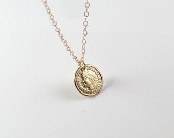 gold coin necklace , silver coin necklace , enchant style coin pendant , gold filled coin necklace , disc necklace , old coin pendant