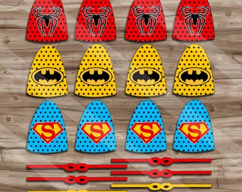Superhero Lollipops, Superhero Capes and Masks, Birthday Party Supplies, Superhero Suckers - JPG Digital File, INSTANT DOWNLOAD