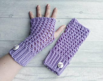 Ladies fingerless gloves, ready to ship, purple wristwarmers, crocheted armwarmers, womens crochet mittens, driving gloves, Brooklyn gloves