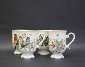 Vintage Songbird Pedestal Mugs, Set of 4 (E5872)
