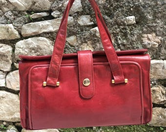 Vintage bag Years ' 70-real leather-red-hand and shoulder bag