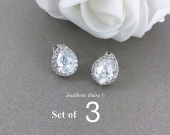 Set of 3 Stud Earrings CZ Bridal Earrings Wedding Stud Earrings Bridesmaid Earrings Stud Crystal Earrings Teardrop Earrings Bridal Jewelry