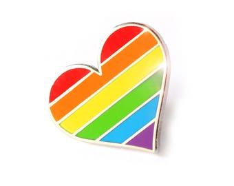 Stolz, Regenbogen Herz Emaille Pin, Anstecknadel, LGBTQ Pin, Gay Zubehör, Unterstützung LGBT-Stift, das Regenbogen-Emaille-pin