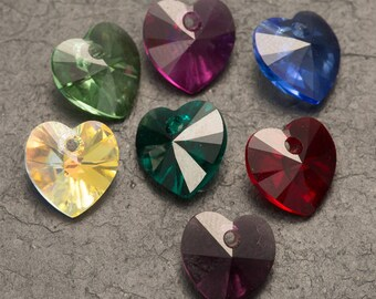 swarovski crystal heart, crystal beads, jewellery making, 10mm pendant, necklace componants, jewelry supply, heart crystal