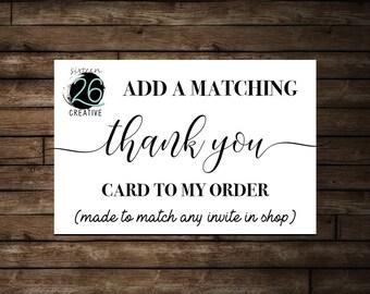 Thank You Card Add-On Printable - Custom