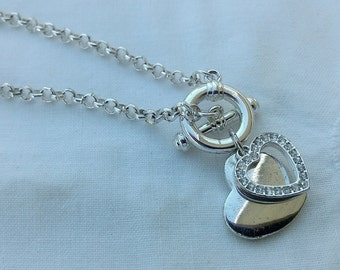 Cute Silver 2 Hearts And Crystals Charm Style Bracelet