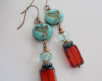 Bird Earrings, Bohemian, Turquoise Bird, Botanical Earrings, Amber Czech beads, Long, Nature Earrings, Redpeonycreations