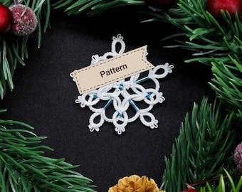 Tatting lace pattern Christmas tree decoration. Tatting Lace Christmas star tutorial. Intermediate. Frivolite snowflake instructions
