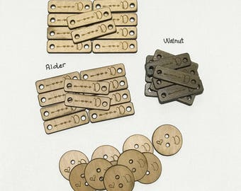 """Custom Wood Tags, Pet Products Branding, Gift Tags, Engraved Tags 1.2"""" x0.4"""" (30x10mm)"""