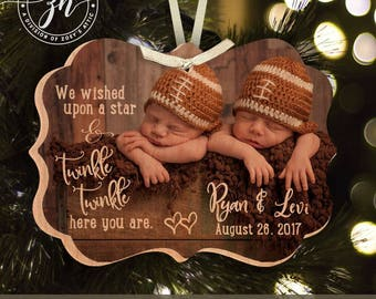 Twins First Christmas ornament wished upon a star photo WOOD ornament - unique Christmas gift BLX-002-tw