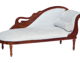 1:12 Scale Miniature Bespaq Walnut Swan Fainting Couch