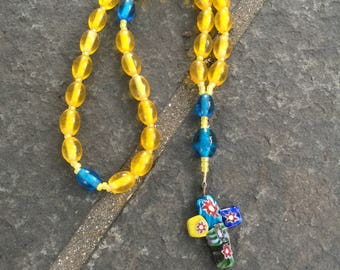Anglican Rosary  Protestant Prayer Beads  Episcopal Rosary  Devotion  Yellow Glass Bead Christian Meditation Prayer Beads  Confirmation Gift