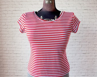 vintage stripe v-back top, red and blue stripe shirt, v-back stripe top, baby blue and red stripe short sleeve top, stripe stretchy top