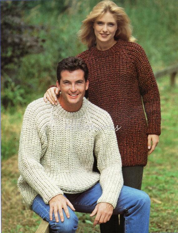 Womens Mens Knitting Pattern Fishermans Rib Sweater Chunky