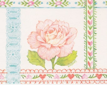 Vintage 1980s gift enclosure card by Current -- rose and ribbon design