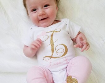 Personalized Baby Girl Clothes, Monogram Baby Girl Clothes, Newborn Girl Coming Home Outfit, Personalized Baby Gift, Custom Baby Gift