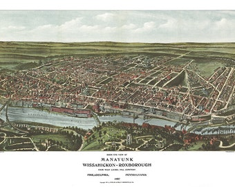 Manayunk, Wissahickon Roxborough from West Laurel Hill Cemetery, Philadelphia, Pennsylvania 1907.  Fowler & Kelly. Reproduction Map Print.