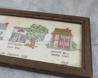 Vintage Framed Needlepoint Architecture Home Sweet Home Beaufort, NC Fiber Art Wall Hanging Cottage Chic Home Decor Historical Homes