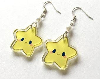 "Cute Lucky Shining Happy Star Kawaii 1"" Acrylic Clear Double Sided Charm Dangle Drop Earrings"