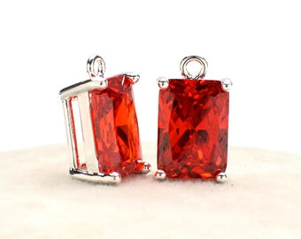 2 Rectangle Red Zircon Pendant, 14mm, Silver Plated over Brass Prong Setting. [R1180291]