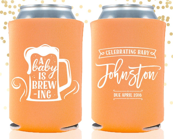 Baby Shower A Baby Is Brewing Custom Can Cooler Beer Cozy