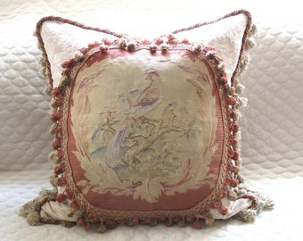 """Charming Authentic 19th C Antique Aubusson Tapestry Pillow of Bird 24"""" x 24"""""""