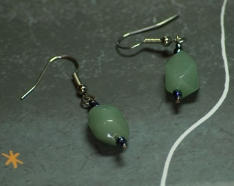 Aventurine nuggets with gunmetal glass beads earrings