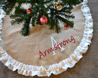 Great White Ruffled Tree Skirt  Burlap Tree Skirt   Personalized Tree Skirt   Monogrammed  Christmas