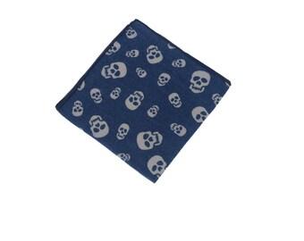 Skull Pocket Square.Skull Handkerchief.Denim Hanky.Mens Pocket Square