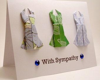 Origami Dress With Sympathy card (blue green)
