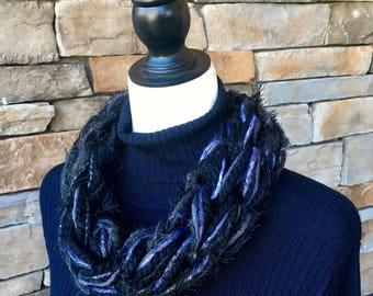 Black Infinity Scarf, Gray Arm Knit Cowl, Black Cowl Neck, Knitted Neck Warmer
