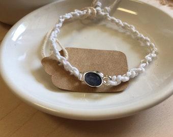 White hemp bracelet with blue gem