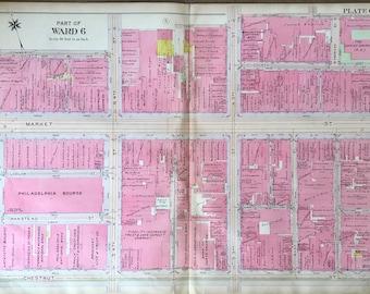 Original 1908 City of Philadelphia Atlas Map Benjamin Franklin Museum the Bourse Christ Church