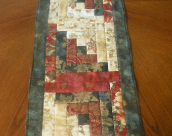 Christmas Quilted Table  Runner Christmas Log Cabin Design Home Decor Quilted Gift TBL101