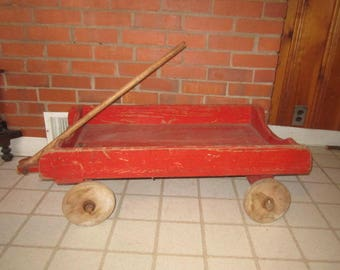 Vintage 1920s/30s Primitive Red Wooden Child's Coaster Wagon with Old Paint