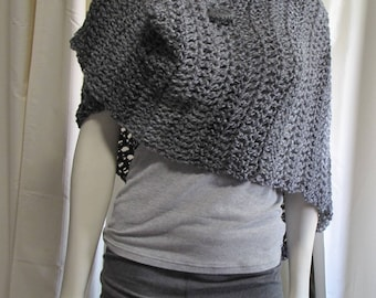 Asymetrical Shawl with Button - Crochet