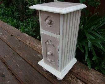 VINTAGE INSPIRED mini cabinet,wooden mini chest,keepsake storage,makeup storage,mini commode,decorative wooden box,cottage decor