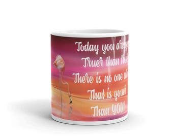 Pink Flamingo Novelty Mug with Dr. Seuss Quote; Pink Flamingo Novelty Mug
