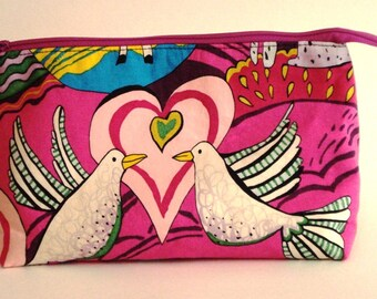 MASHAMA FUCHSIA ANIMALS by Alexander Henry 100% cotton fabric Cosmetic Bag, gift bag with full width opening and nylon zipper closure
