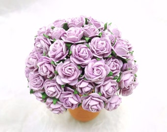 50 pcs. sweet lilac Rose Mulberry Paper Flower Craft Handmade Wedding 15 mm Scrapbook #188