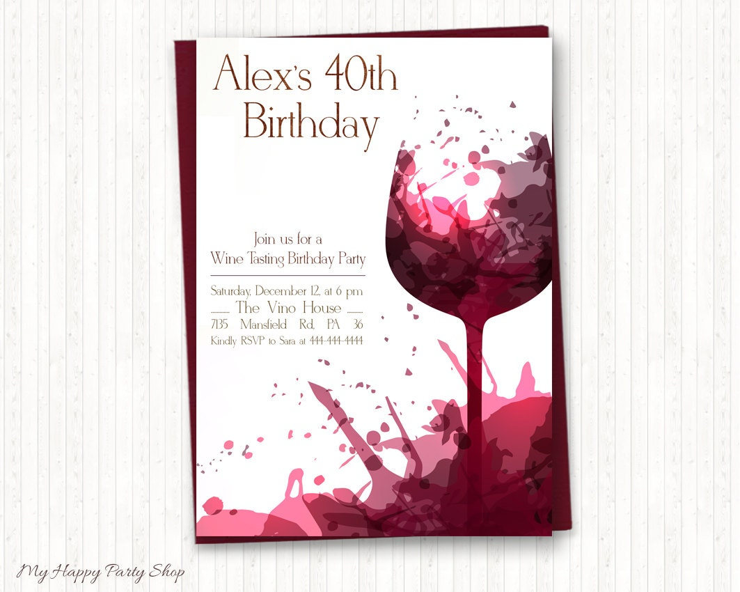 Wine Birthday Invitations Adult Birthday Wine Tasting Adult