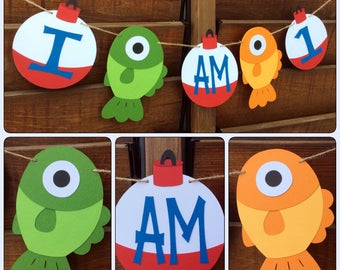 One fishing and bobber banner - Fishing banner - Bobber banner - First Birthday - I am 1 fishing/ bobber - Birthday Banner - Fishing -