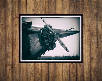 """B/W Tinted Photo of a 1929 Ford Trimotor - """"Start 'em up"""""""
