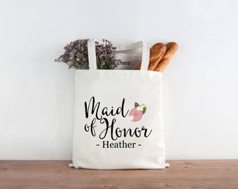 Personalized Maid of Honor Gift Bridesmaid Wedding Favor Tote Wedding Welcome Bags