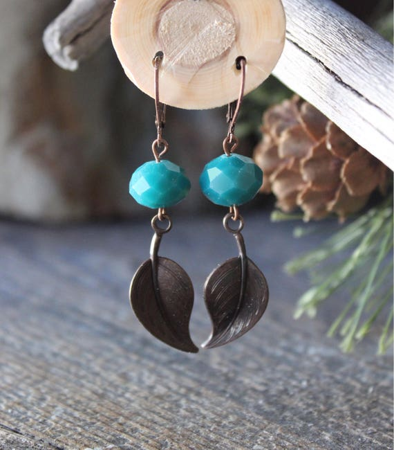 Earrings / Turquoise / Leaf / Aqua Glass / Faceted Glass / Copper and Turquoise / Antique Copper Earrings / Green and Copper / Leaves