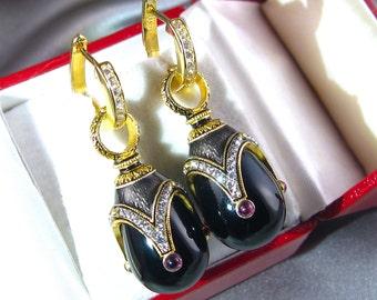 SUPERB BLACK ONYX! Large Guilloché enamel Faberge style egg-shaped earrings, 925 silver, Swarovski crystals, garnets, 24k gold, silver hoops