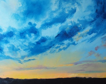 """Archival Print of Original Oil """"Skyscape in Blue at Dusk"""""""