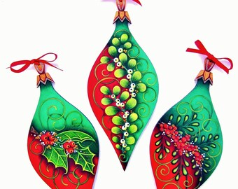 338E  E-Puttin On the Glitz-Instant Download-Decorative Painting Pattern Packet-3 Christmas Ornaments-Holly-Berries-Mistletoe-Red-Green-DIY