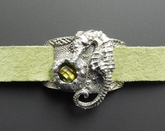 Sterling Silver Seahorse and Sea Urchin Green Suede Wrap Bracelet with Olivine CZ and Leather Ties