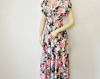 1980's Floral Dress Drop Waist Summer Cotton Full Skirt Short Sleeve Size 6 Dress